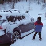 雪かき体験 車の雪降ろし