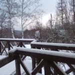 積雪 ウッドデッキ