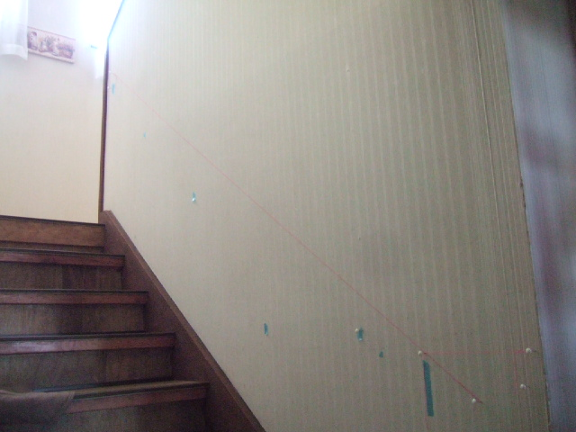 階段手すり DIY 水糸で寸法出し