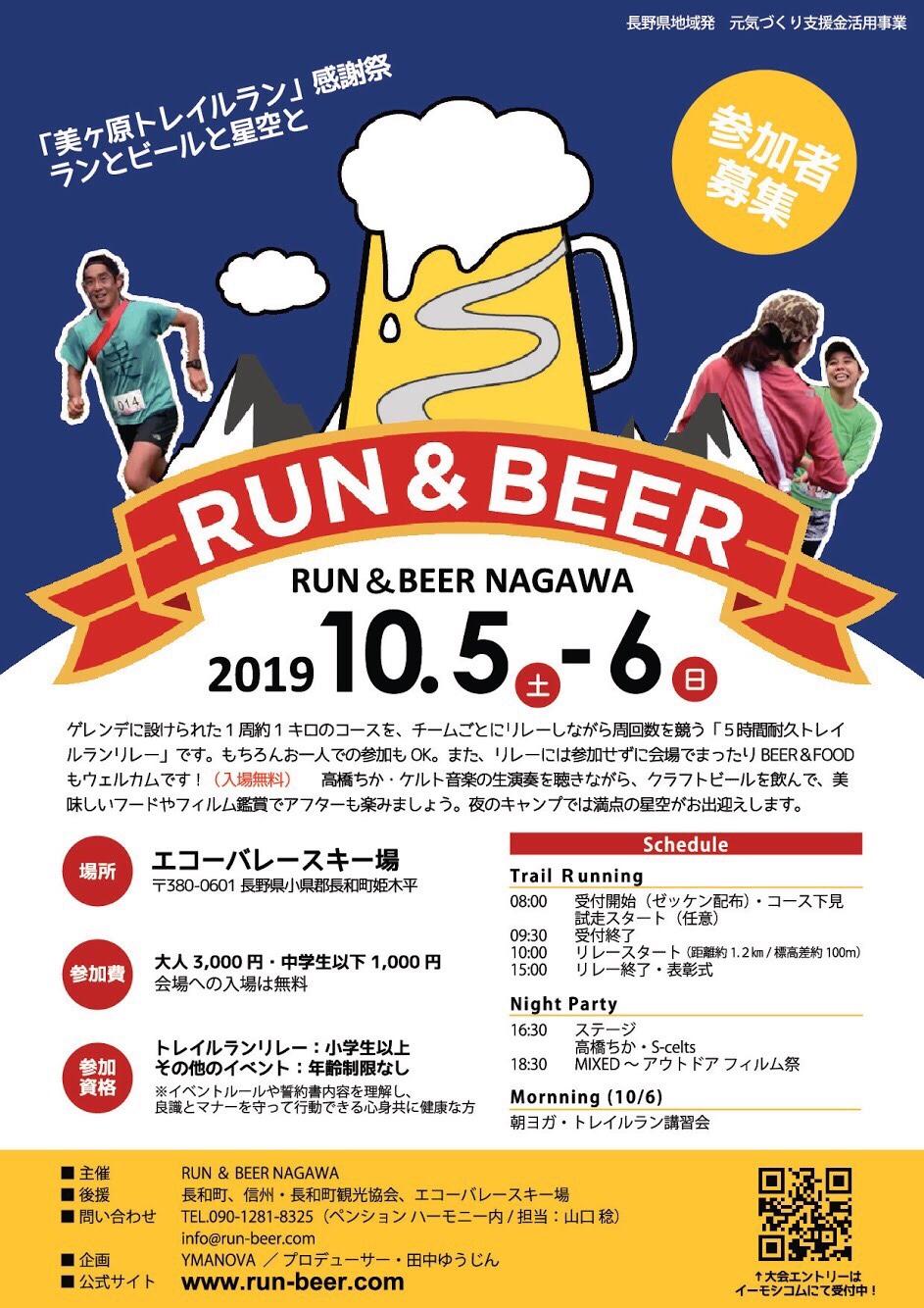 RUN&BEER NAGAWA エコーバレー チラシ