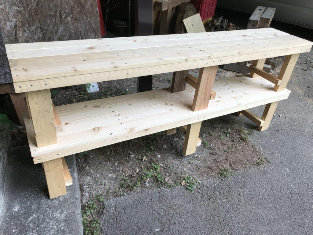 BBQ用 木製ベンチ DIY